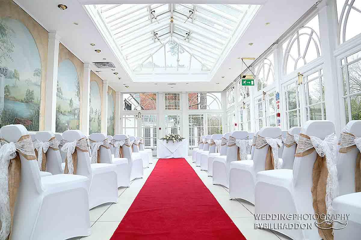 Quorn Country Hotel orangery wedding cermony